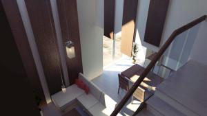 widok na strefę dzienną z klatki schodowej