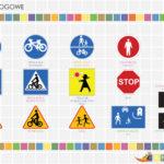 plansza znaki drogowe - ułożone znaki